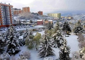 Potenza sotto la neve questa mattina. Credit photo La Repubblica Napoli