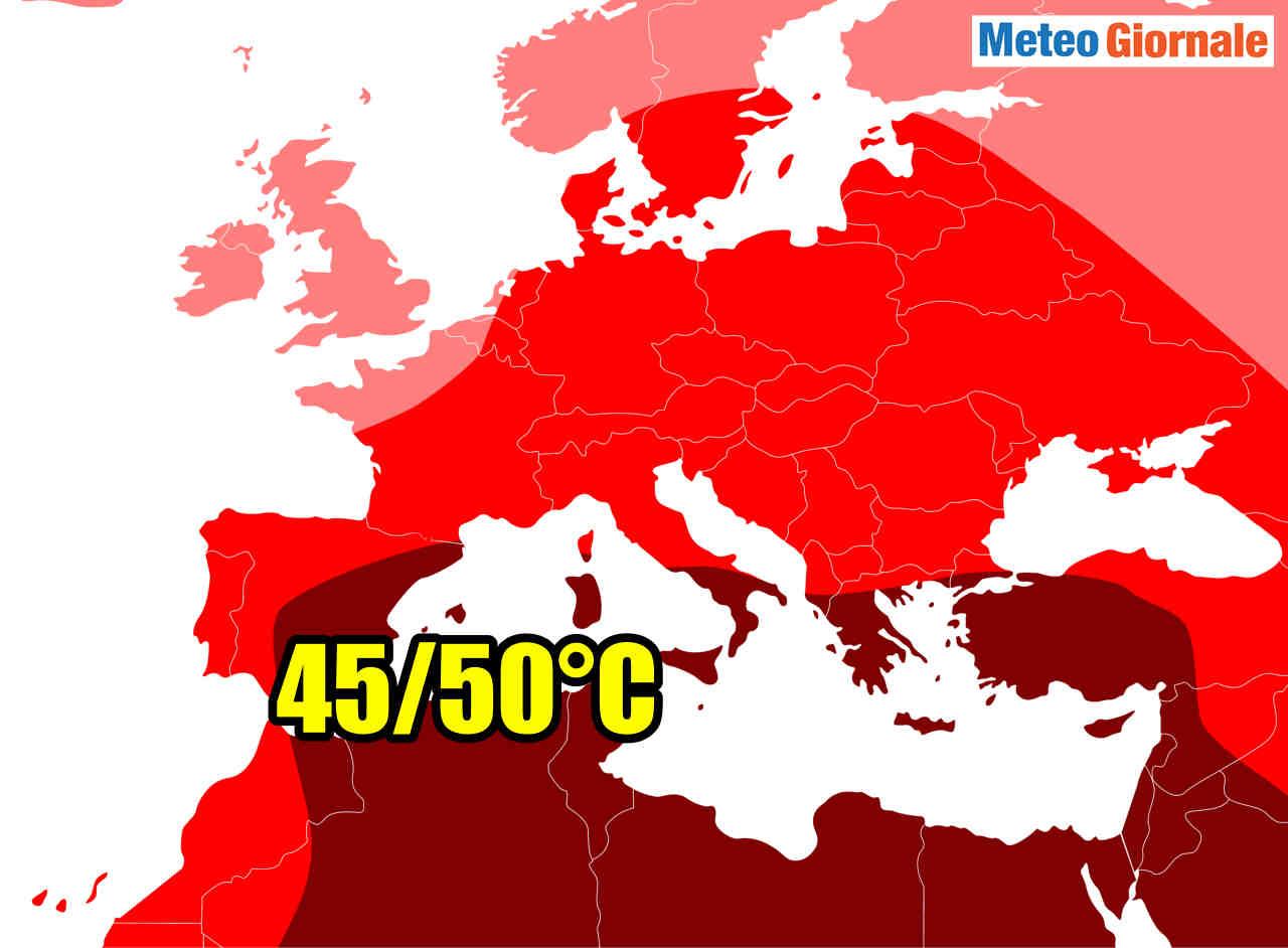 Le aree d'Europa a maggior rischio ondate di calore estremo.