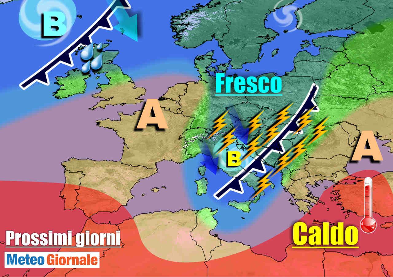 METEO 7 Giorni: TEMPORALI in marcia sull'Italia, temperature in picchiata