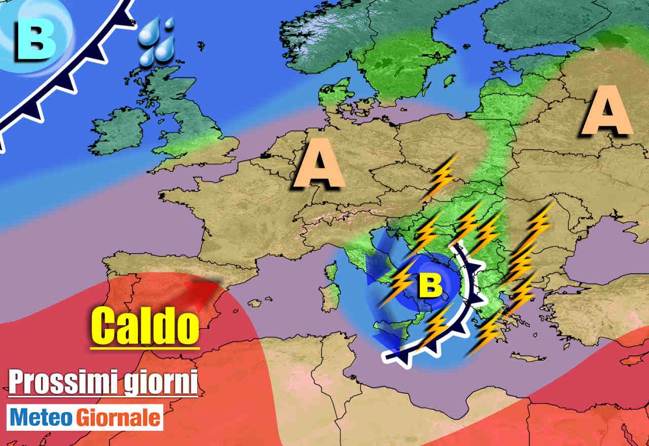 METEO prossimi giorni: CICLONE FREDDO spazza l'Italia, TEMPORALI verso Centro Sud
