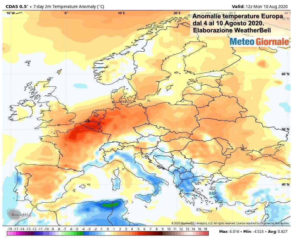 CLIMA AGOSTO: l'esplosione tardiva dell'Estate 2020 in Europa