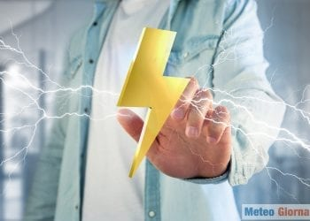 View of a Thunder lighting bolt symbol displayed on a futuristic interface - 3d rendering