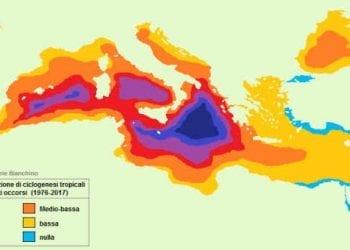 Bacini di formazione dei cicloni tropicali sul Mediterraneo, secondo uno studio e un'elaborazione di Daniele Bianchino da http://www.medicanes.altervista.org/