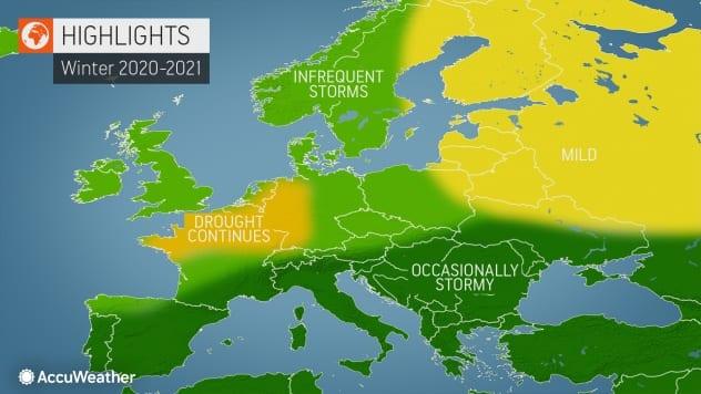 La visione di AccuWeather per l'inverno in Europa