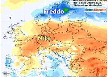 Ultima settimana più mite su gran parte d'Europa