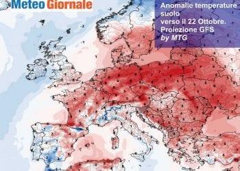 Andamento temperature al suolo rispetto alla norma per giovedì 22 Ottobre