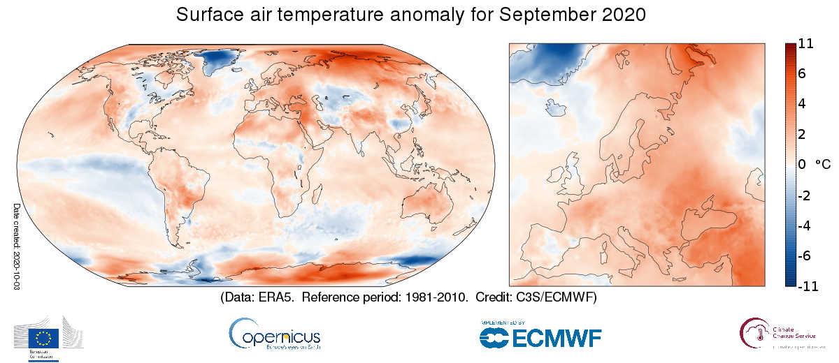 Anomalia della temperatura dell'aria superficiale per settembre 2020 rispetto alla media di settembre per il periodo 1981-2010. Fonte dati: ERA5