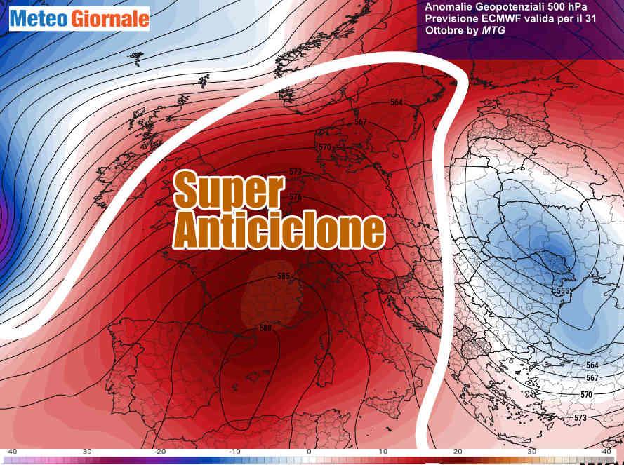 Possente anticiclone verso la fine della settimana in Italia e su oltre mezza Europa