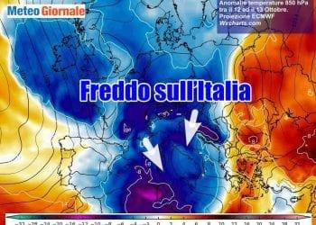 Le anomalie termiche in quota, a 1500 metri d'altezza, previste tra lunedì 12 e martedì 13