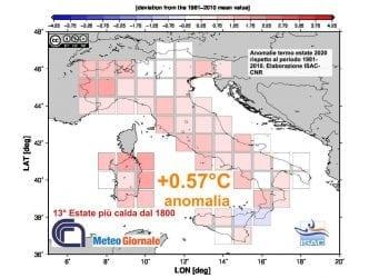 Le anomalie termiche dell'estate, da giugno ad agosto, sulla base dei dati Isac-CNR