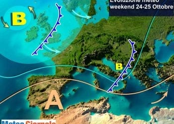 Scenario del weekend, con il transito del fronte sull'Italia