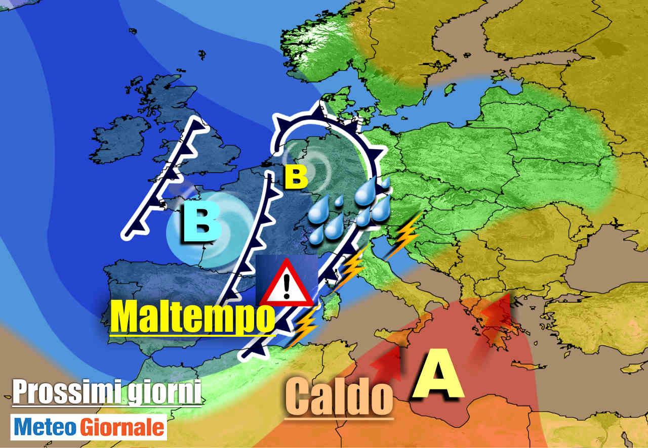 METEO 7 Giorni. Imminente FORTE MALTEMPO con NUBIFRAGI su parte d'Italia