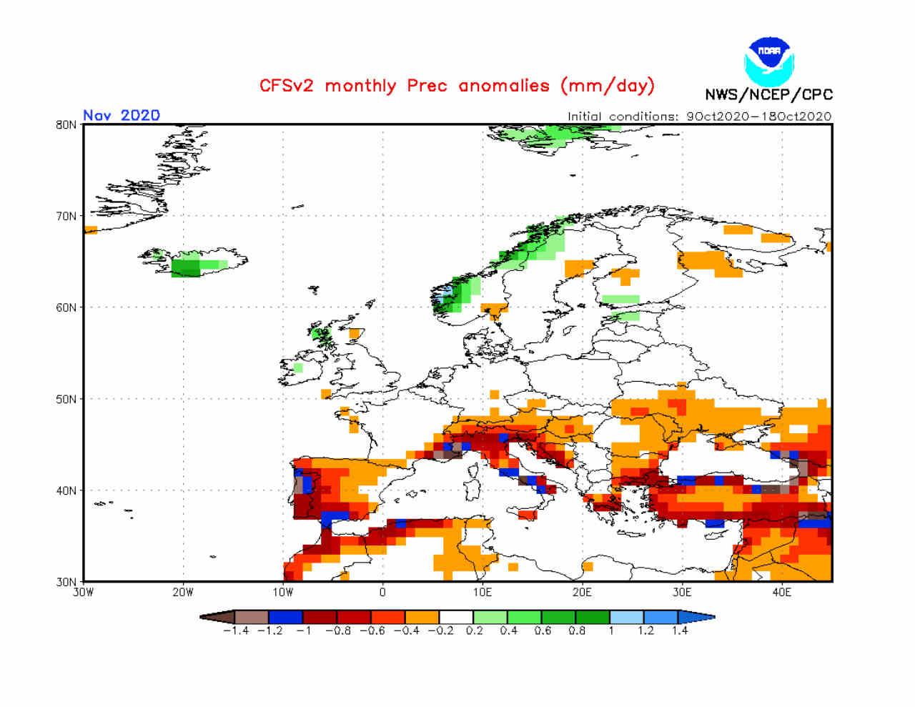 Modello CFSv2: meteo di novembre BOMBA