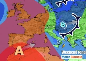 Vortice in fuga verso est nel weekend