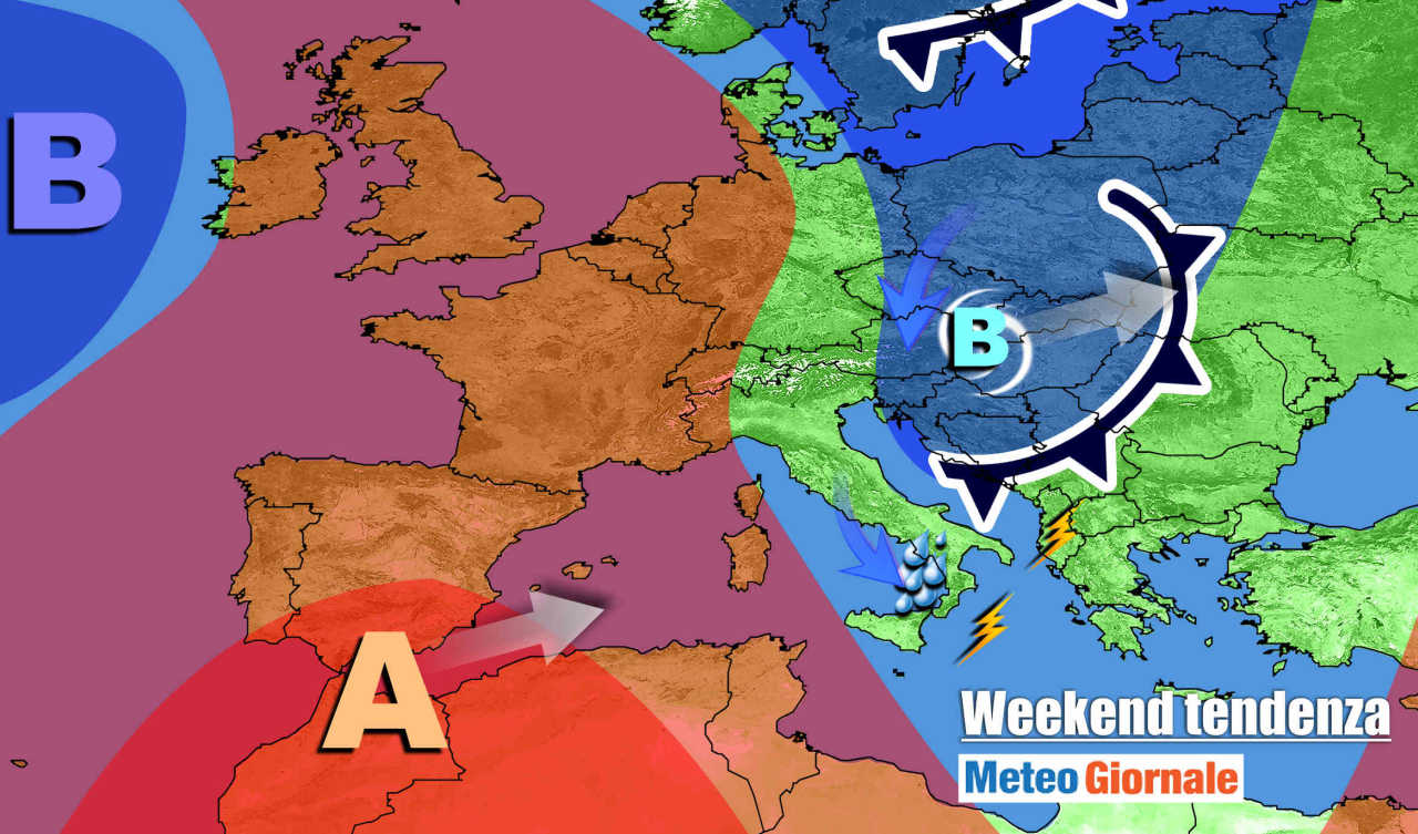 Vortice in fuga verso est nel weekend