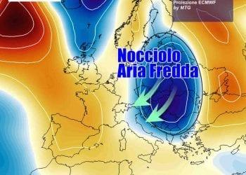 Il nucleo d'aria fredda che punta l'Italia da martedì