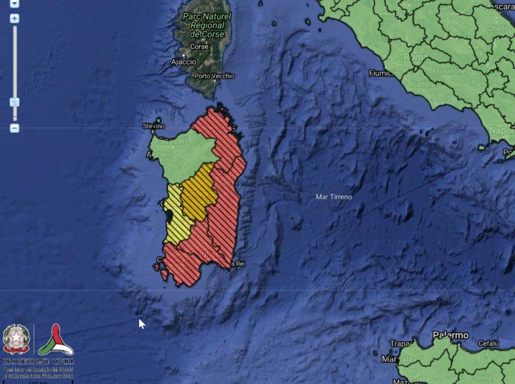 SARDEGNA |  allerta meteo ROSSA da parte della Protezione Civile nazionale