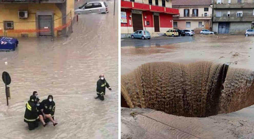 Persone salvate e voragini sulle strade a Crotone