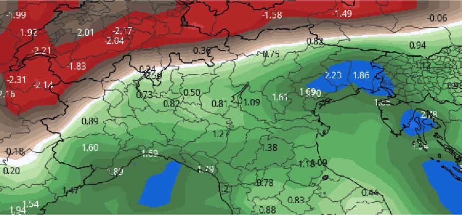 Anomalia precipitazioni sino Epifania. In Italia eccesso di neve su Alpi, in Svizzera e Austria deficit.