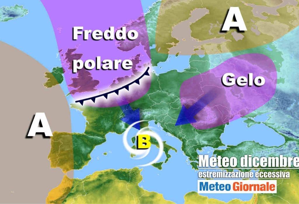 Meteo invernale |  rischio FREDDO da est e FREDDO da nord |  obiettivo Italia