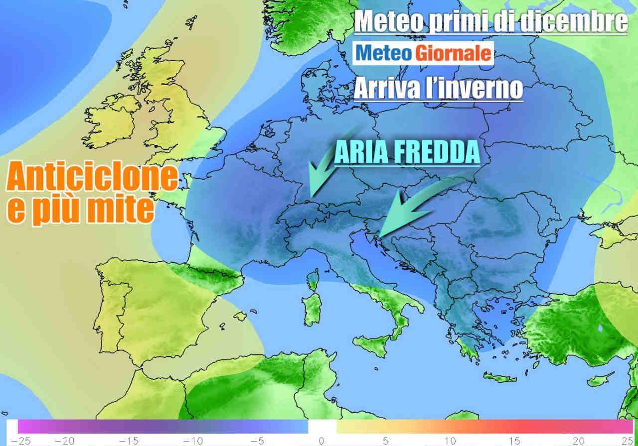 Aria fredda da est in arrivo anche sull'Italia