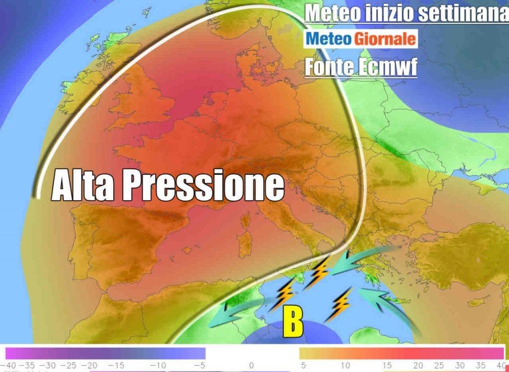 METEO Italia  Rinforza l'alta pressione |  ancora rovesci e temporali al Sud