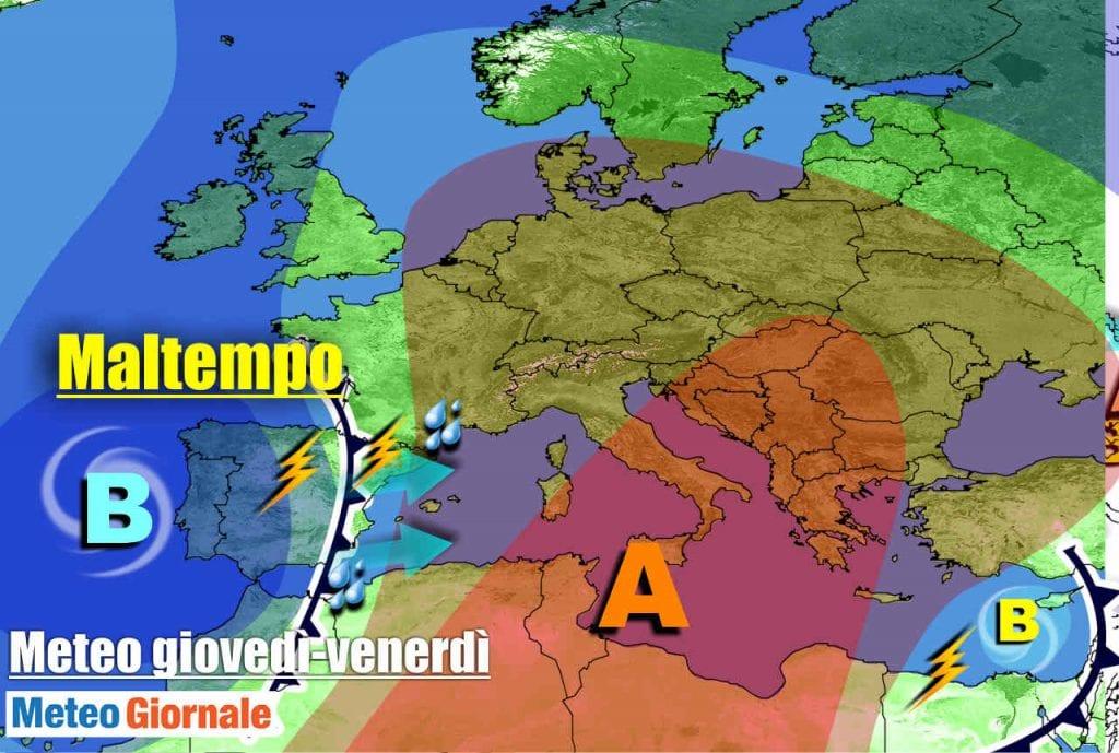 METEO Italia. Dall'anticiclone al MALTEMPO nel weekend, rischio nubifragi