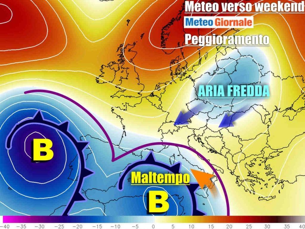 METEO Italia  Ciclone riporterà il MALTEMPO nel weekend  Le previsioni