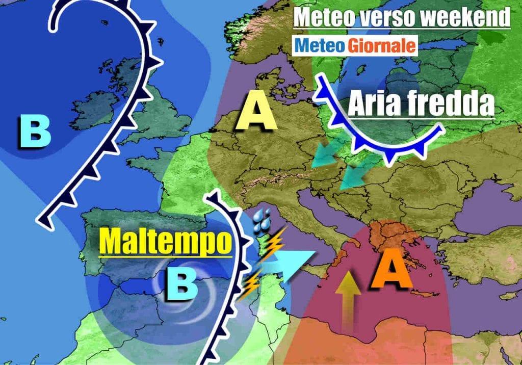 METEO Italia. MALTEMPO nel weekend, poi irromperà il FREDDO dai Balcani