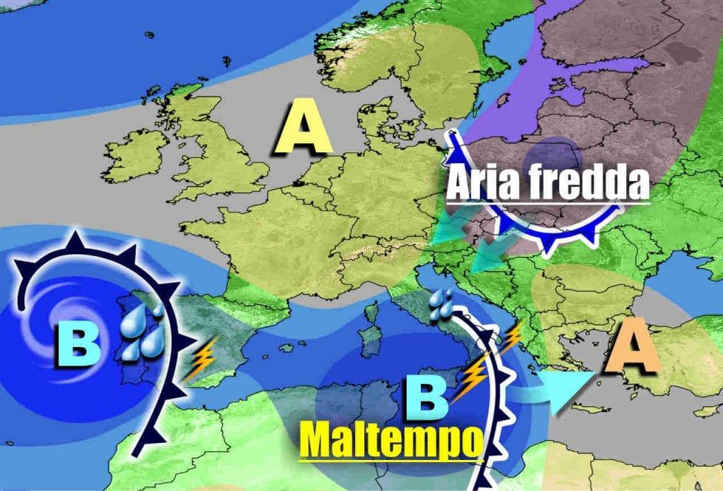 METEO Italia. Ciclone mediterraneo con forte maltempo, seguirà FREDDO e rischio NEVE