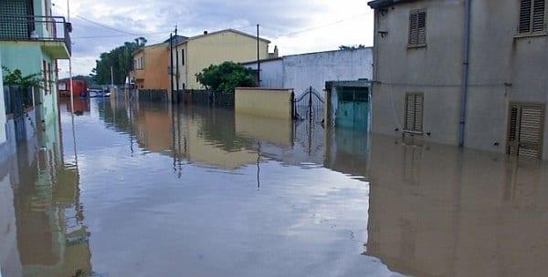 Paese di Uras allagato dall'alluvione