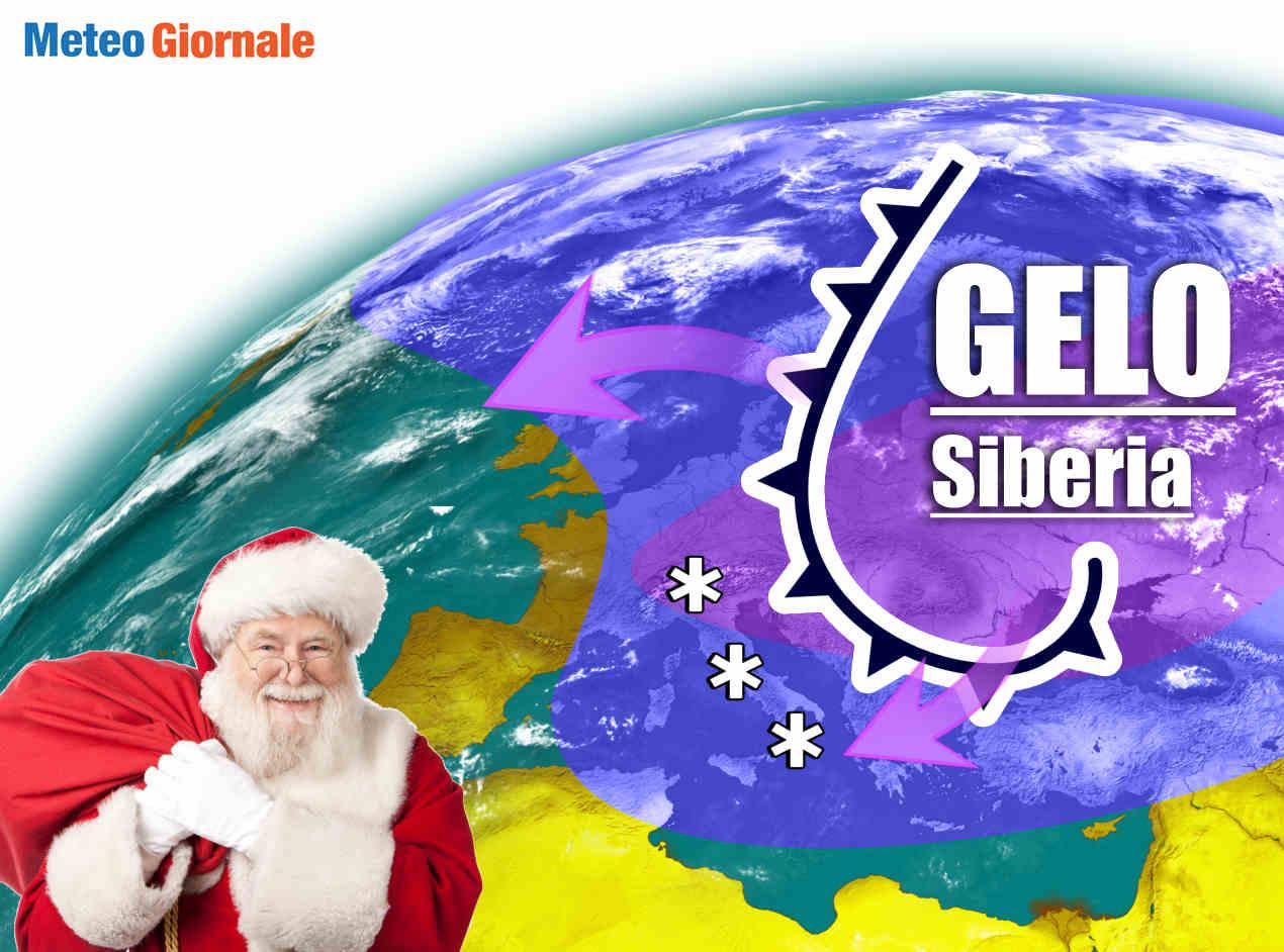 Meteo con rischio gelo dalla Siberia nelle festività del Natale.