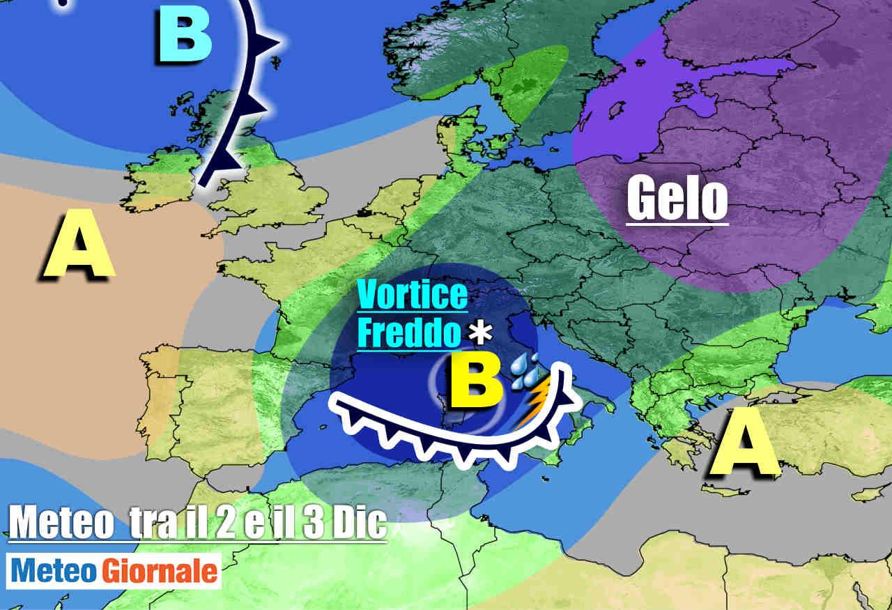 Italia in balia di un vortice ciclonico freddo a metà settimana