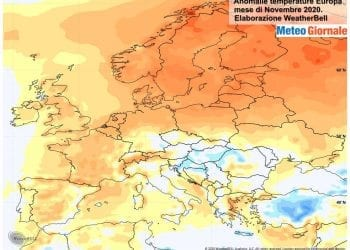 Le anomalie termiche di novembre in Europa