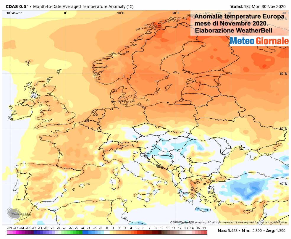 Novembre in Europa è stato strapotere dell'anticiclone, ma ora cambia tutto