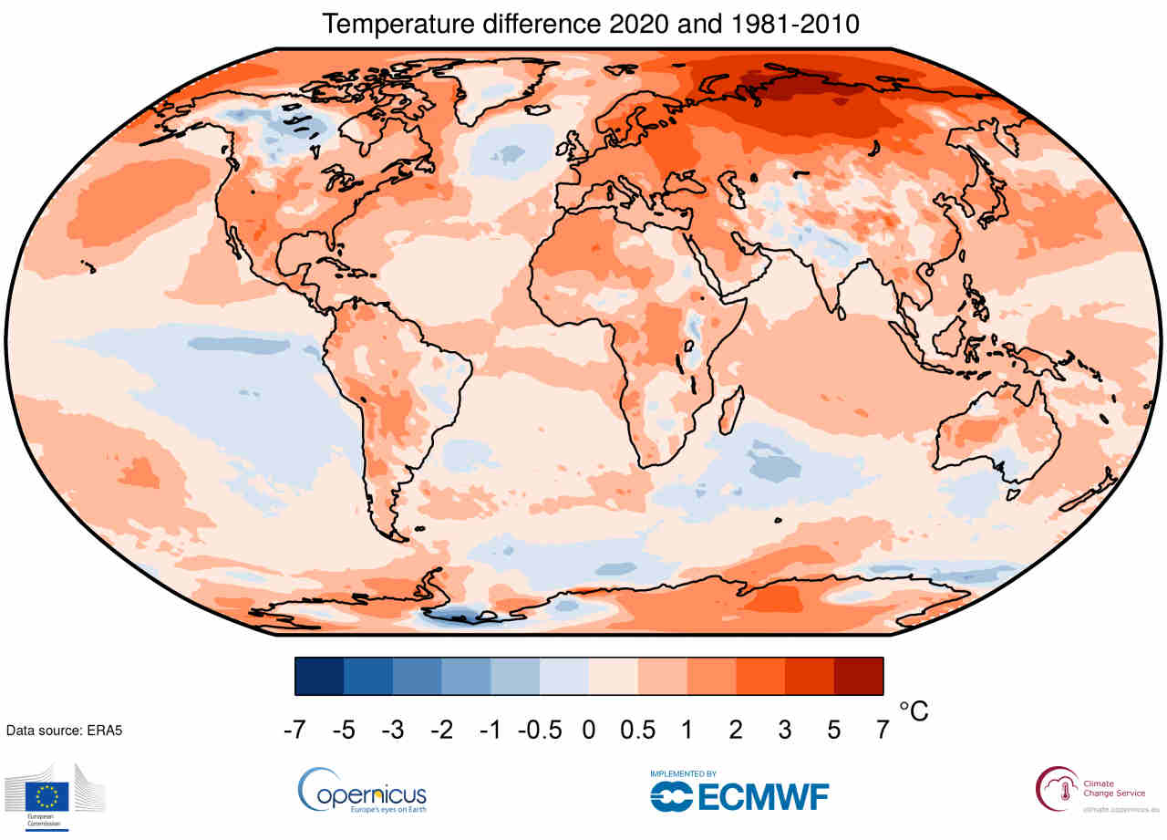 Le anomalie termiche a livello globale del 2020 rispetto alla media del trentennio 1981-2010. Dati Copernicus