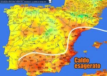 Le temperature altissime misurate giovedì 28 Gennaio in alcune località della Spagna