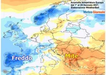 Andamento di gennaio fino a questo momento in Europa, con la rappresentazione delle anomalie termiche al suolo