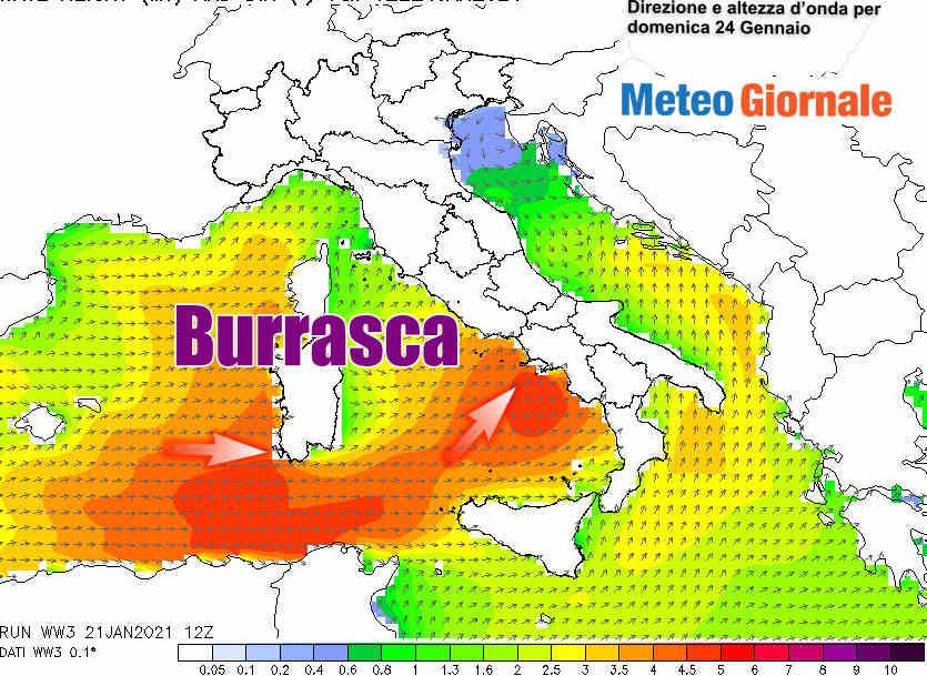 Le mareggiate previste tra Tirreno e Isole Maggiori nella giornata di domenica 24 Gennaio