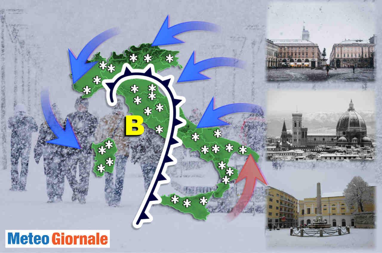 Meteo con gelo e neve verso Italia.