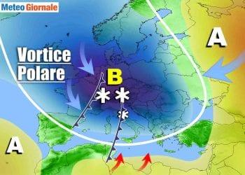 Meteo febbraio molto instabile con intrusione del Vortice Polare.