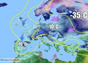 Meteo gelido siberiano che avanza, al contempo, aria polare su Europa.