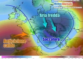 Evoluzione d'inizio settimana, con aria fredda in arrivo verso l'Italia