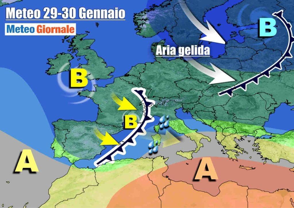 METEO Italia. Dopo il freddo, ritorno del maltempo nei Giorni della Merla