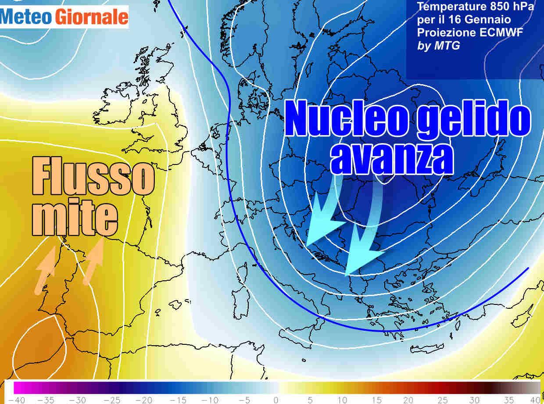 Le termiche a circa 1500 metri d'altezza previste per il 16 Gennaio 2021