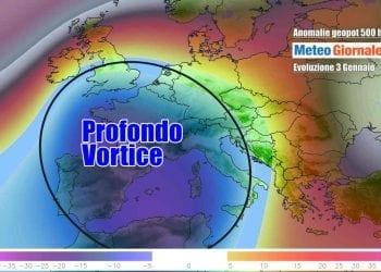 Anomalie dei geopotenziali a 500 hPa per domenica 3 Gennaio