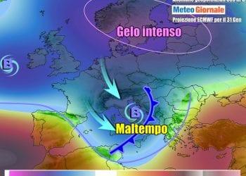 Il passaggio del fronte freddo, con relativo vortice, tra sabato e domenica