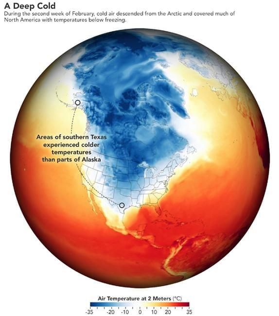 Temperature analoghe a quelle dell'Alaska costiera, si sono avute in Texas, causando un disastro.