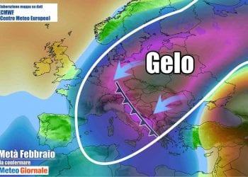 Mappa elaborata su dati ECMWF 850 hPa, run 06 02 2021 00Z, proiezione per il 16 02 2021 00Z.