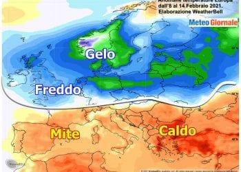 Andamento climatico degli ultimi 7 giorni in Europa